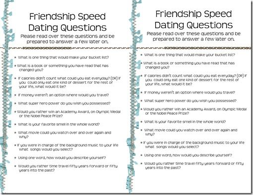 Questions To Ask In Speed Dating
